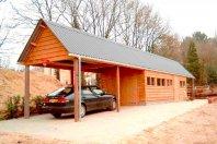 C5 Garage / Carport 1380x320cm dubbelwandig potdeksel, golfpalten dak