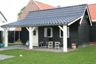 T2 Tuinhuis dubbelwandig houtskelet potdeksel-veranda