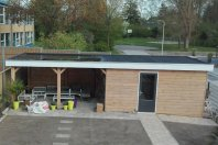 T25 Tuinhuis dubbelwandig houtskelet rabat-veranda-plat dak