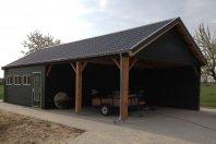 G43 Garage Carport 1260x630cm dubbelwandig houtskelet Eternit Sidings