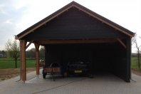 G44 Garage Carport 1260x630cm dubbelwandig houtskelet Eternit Sidings1