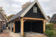 G1 Garage - overkapping  1100 x 400 houtskelet / zwarte douglas potdekseldelen