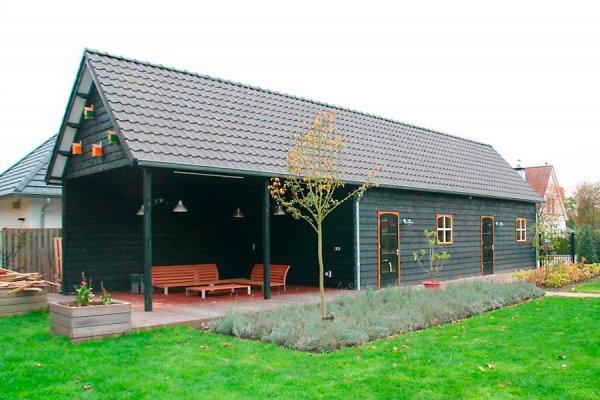G0 Garage / Tuinhuis 1800x450cm dubbelwandig houtskeletbouw-(potdeksel), zadeldak 45 graden pannen